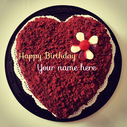 Heart Shaped Red Velvet Birthday Cake With Name