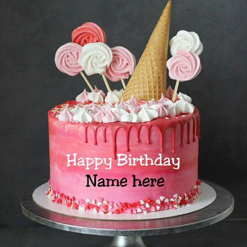 Strawberry Cream Birthday Cake With Kid Name On It