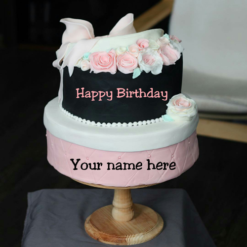 Write Friend Name On Double Layer Birthday Cake