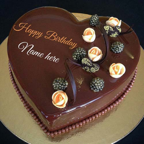 Chocolate Heart Cake With Name For Love