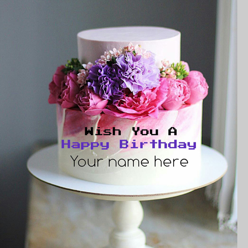 Double Layer Flower Birthday Cake With Name On It