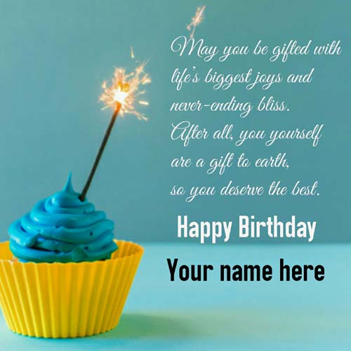 Write Name On Cupcake Birthday Greetings Card