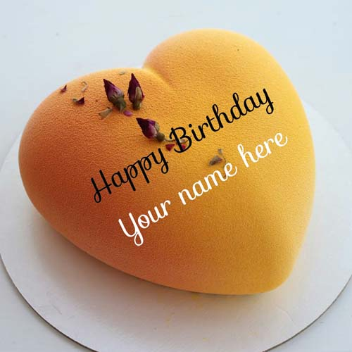 Write Name On Heart Shaped Mango Flavor Birthday Cake