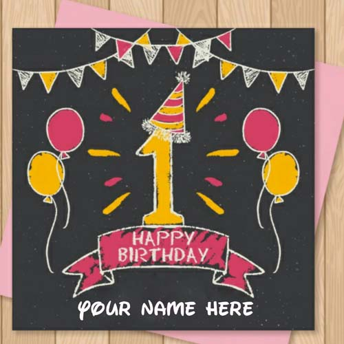 Happy 1st Birthday Greetings Card With Name On It