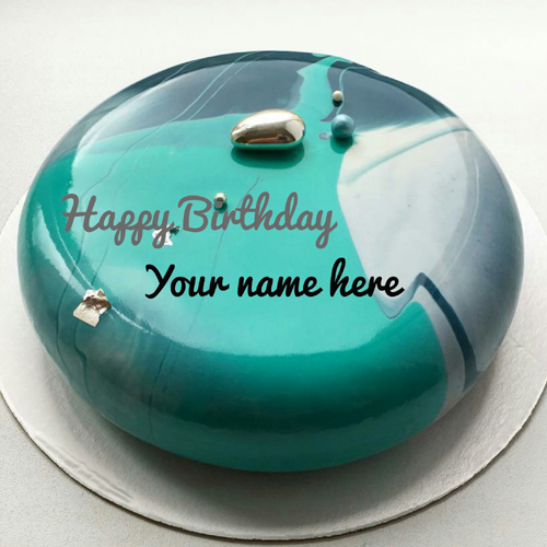 Mirror Glazed Birthday Wishes Cake With Name On It