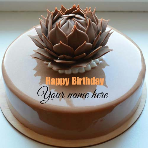 Molten Chocolate Flower Birthday Cake With Name