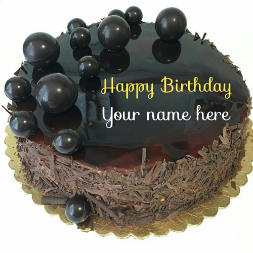 Get Your Name On Dark Chocolate Birthday Cake