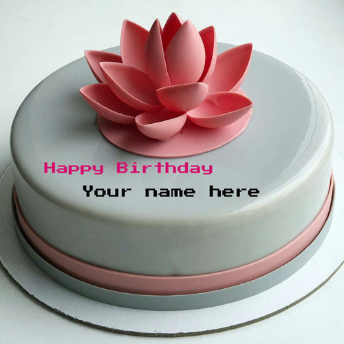 Write Name On Birthday Cake With Lotus Flower For Papa