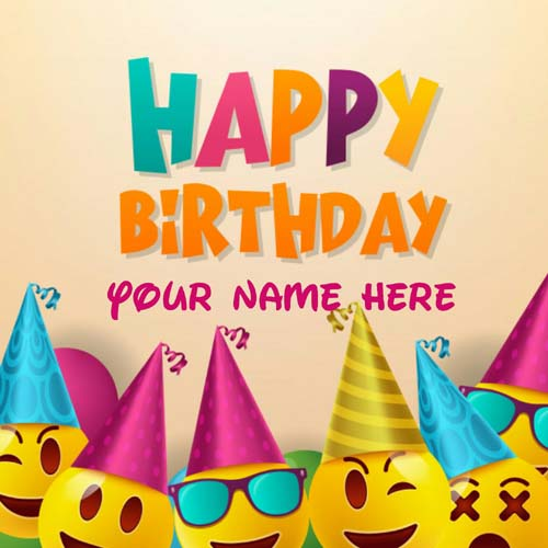 Smiley Birthday Greeting Card With Name On It