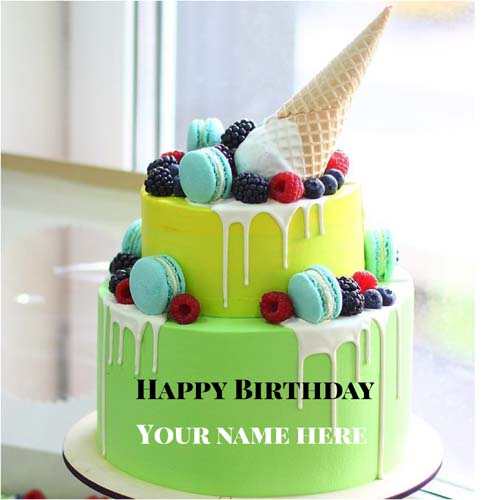 Double Layer Pineapple Flavor Cream Cake With Name