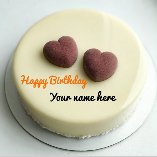 Vanilla Birthday Name Cake With Chocolate Heart On It