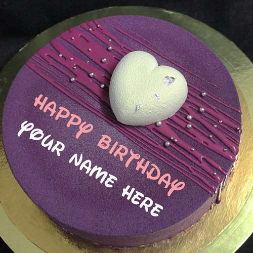Blackcurrant Birthday Name Cake With Heart For Wife