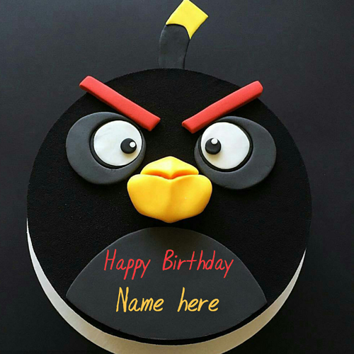 Angry Bird Game Birthday Cake With Name For Kid