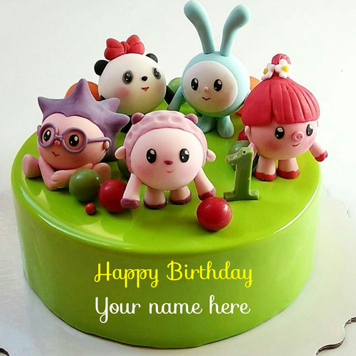 Happy 1st Birthday Cake With Name For Kids