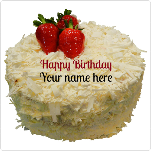 White Forest Strawberry Birthday Cake With Brother Name
