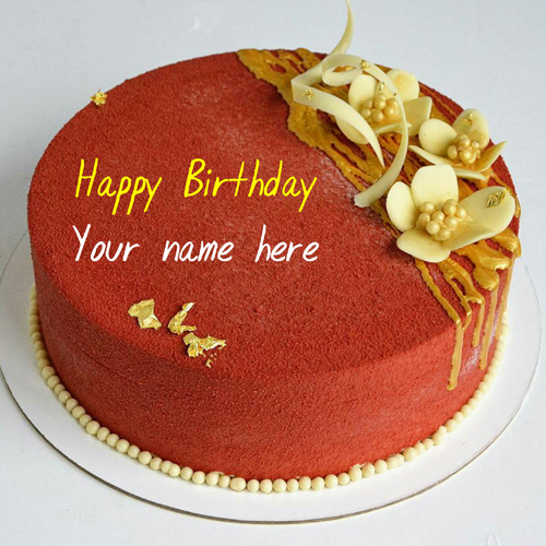 Write Name On Red Velvet Birthday Cake For Friend