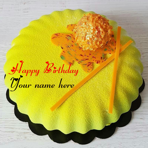 Honey Cheese Birthday Cake With Name For Sister