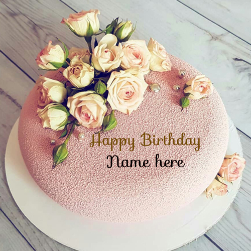 Generate Name On Flower Decorated Birthday Cake