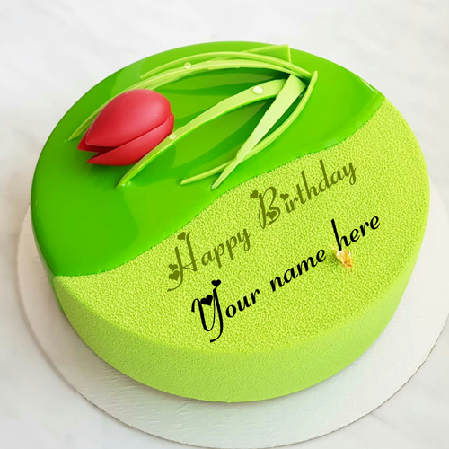 Green Apple Velvet Birthday Cake With Rose For Wife