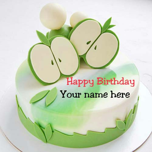 Green Apple Birthday Cake With Name On It For Brother