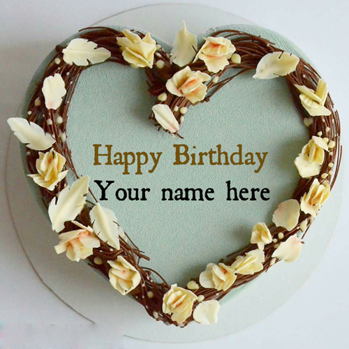 Write Name On Heart Birthday Cake For Love