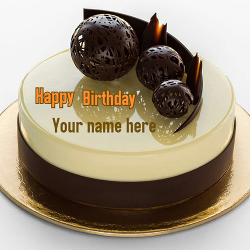 Vanilla Chocolate Ball Decorated Cake With Name On It