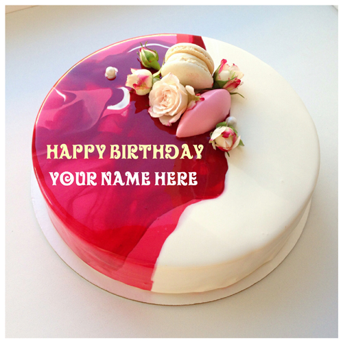 Rose Vanilla Flavored Birthday Cake With Mother Name