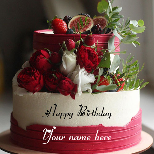 Double Layer Red Rose Decorated Birthday Cake With Name