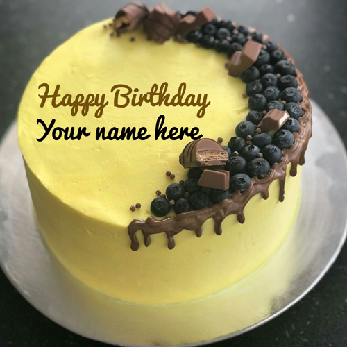 Yellow Birthday wishes Cake With Name For Sister