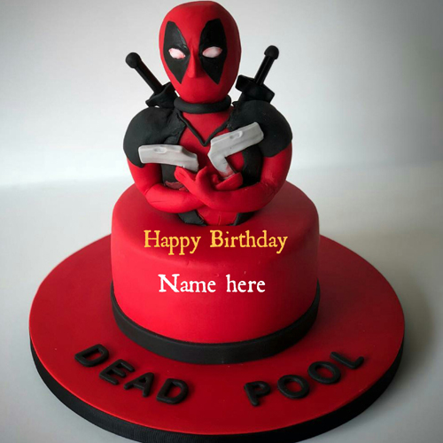 Deadpool Cartoon Birthday Cake With Name On It For Kid