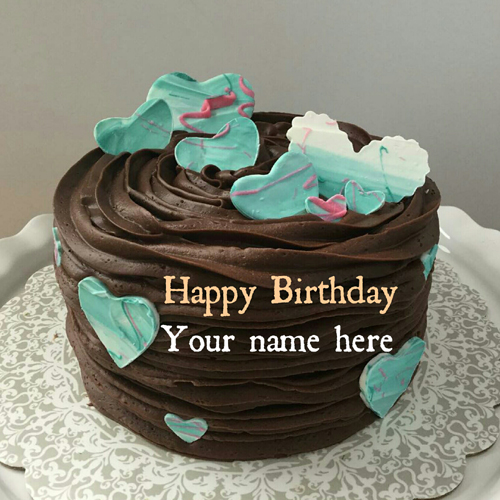 Chocolate Cream Birthday Cake With Name On It