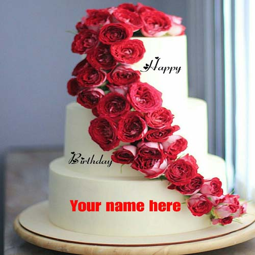 Three Layer Red Rose Flower Birthday Cake With Name