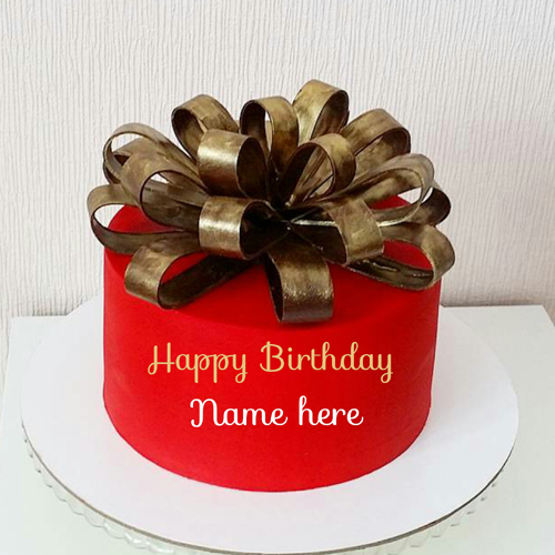 Ribbon Decorated Birthday Cake With Name For Husband
