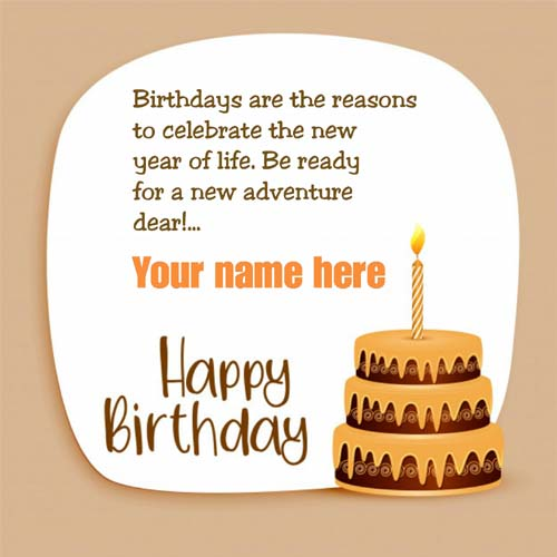 Birthday Cake Decorated Greeting Card With Name On It
