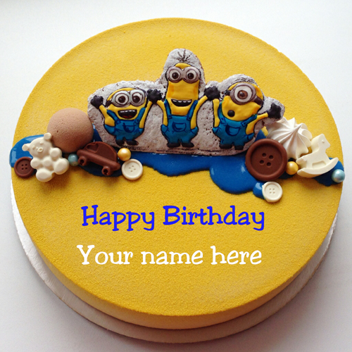 Minion Cartoon Velvet Birthday Cake With Name For Kid