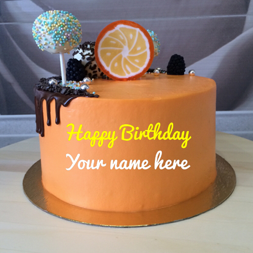 Write Name On Orange Birthday Cake For Sister