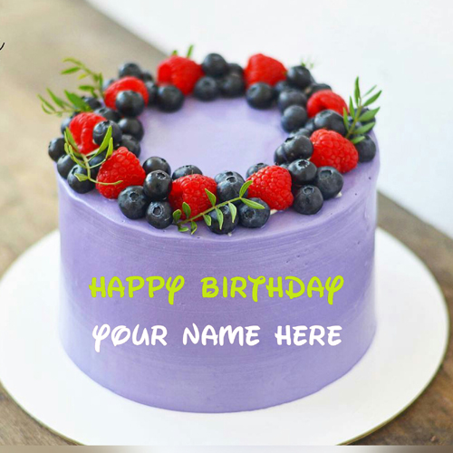 Write Name On Blueberry Birthday Cake For Sister