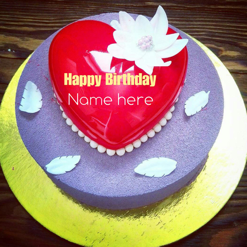 Red Heart Birthday Cake With Name For Love
