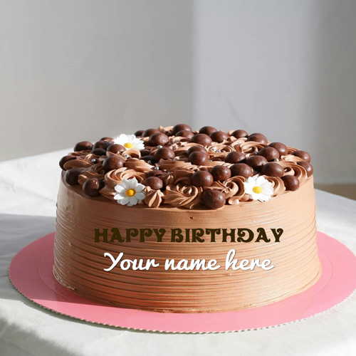 Chocolate Coffee Birthday Cake With Name On It