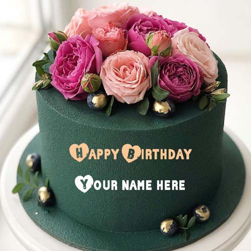 Rose Flower Birthday Wishes Cake With Name Generator