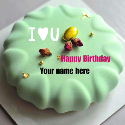 Pista Flavor Happy Birthday Cake With Name For Hubby