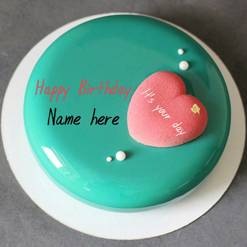 Create Name On Romantic Birthday Cake With Heart