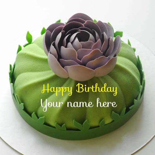 Green Apple Birthday Cake With Name For Friend