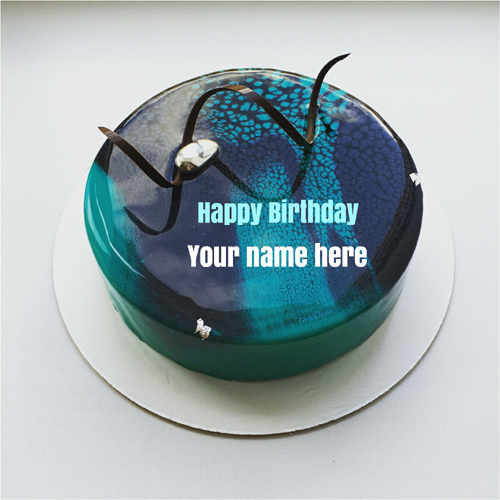 Blueberry marble birthday cake with Brother name