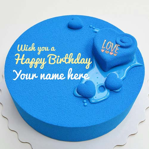 Blue Velvet Heart Birthday Cake With Name On It