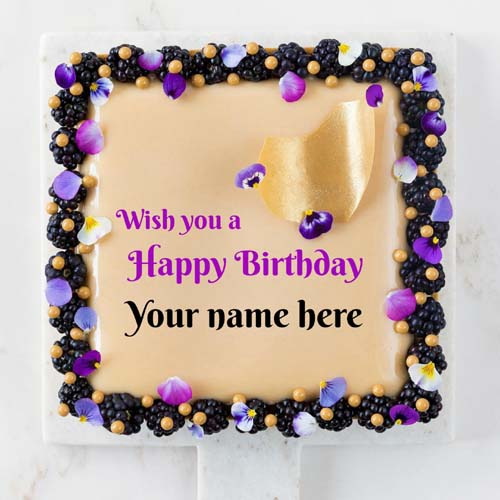 Square Shaped Elegant Birthday Cake With Name On It