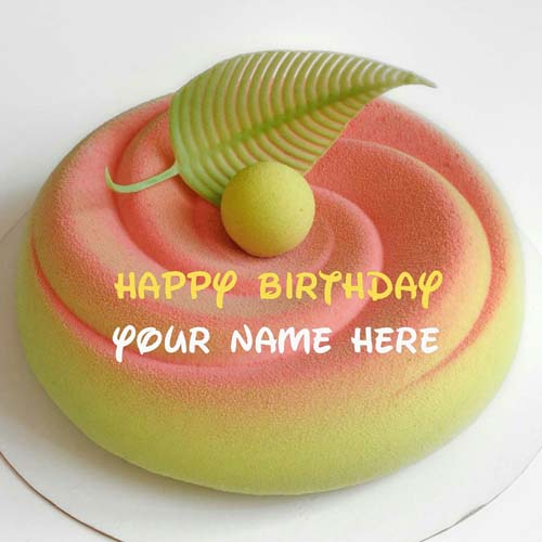 Peach Flavor Happy Birthday Cake For Dear Husband
