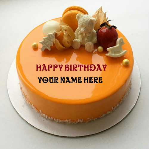 Orange Fruit Birthday Cake With Kid Name