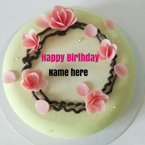 Print name on Happy Birthday Cake For Hubby
