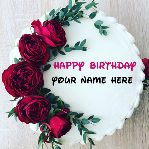 Generate Name On Rose Flower Birthday Cake